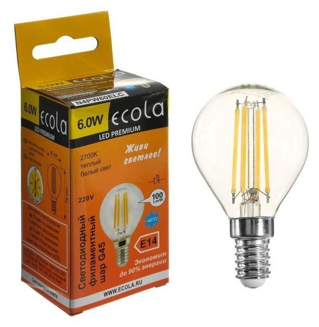 Лампа светодиодная филаментная Ecola Globe Premium Шар, G45, 6 Вт, е14, 2700 к,360°, 220 В Ecola