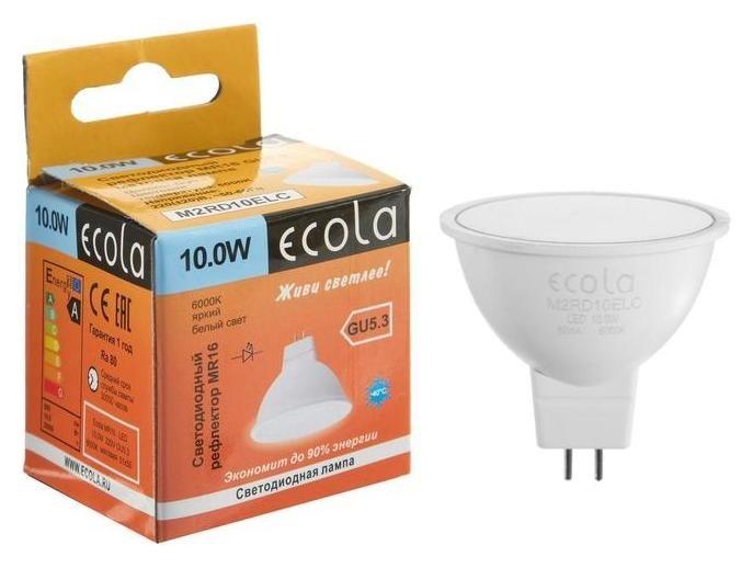 Лампа светодиодная Ecola Mr16, 10 Вт, Gu5.3, 6000 К, 220 В, 51х50 мм, матовая  Ecola