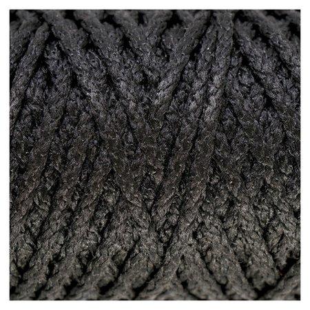 Шнур для вязания Классик без сердечника 100% полиэфир ширина 4мм 100м (Черный) Softino
