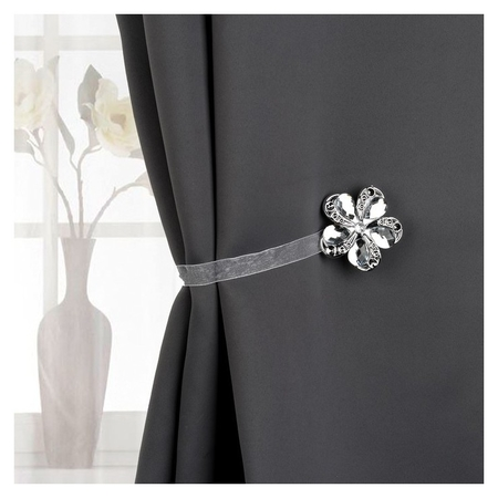 Подхват для штор «Цветок ромашка», D = 5,5 см, цвет серебряный  Арт узор