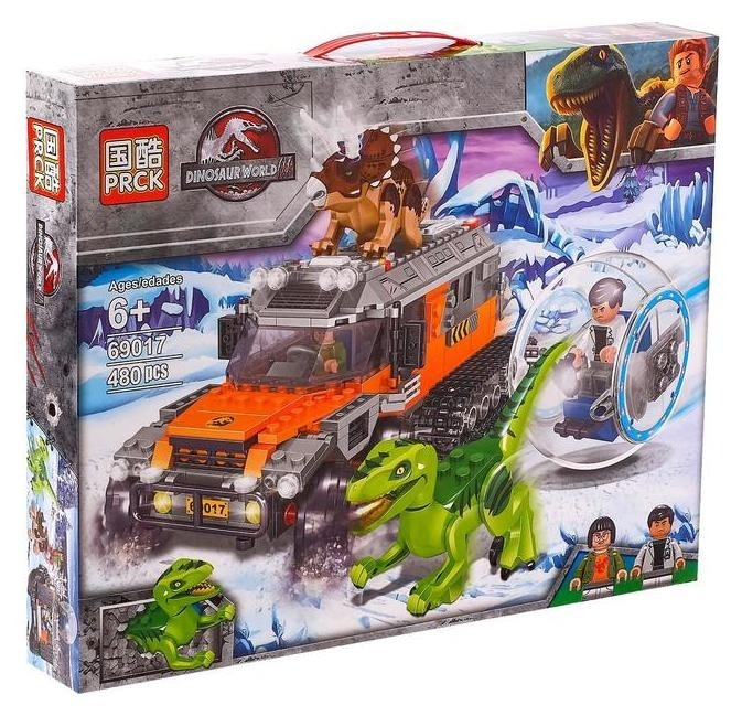 Конструктор Мир динозавров «Погоня на вездеходе», 480 деталей PRCK Dinosaur World