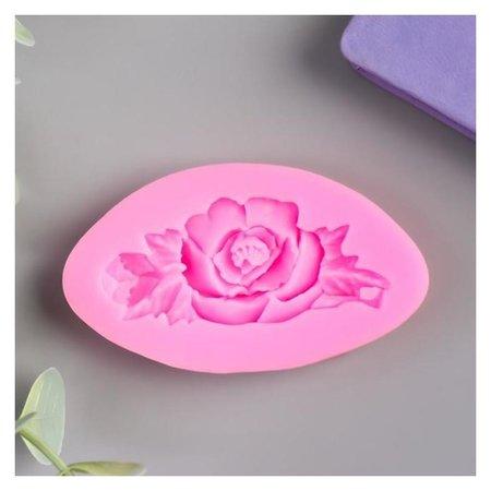 """Молд силикон """"Роза с листьями"""" 1,5х7,5х4,2 см  NNB"""