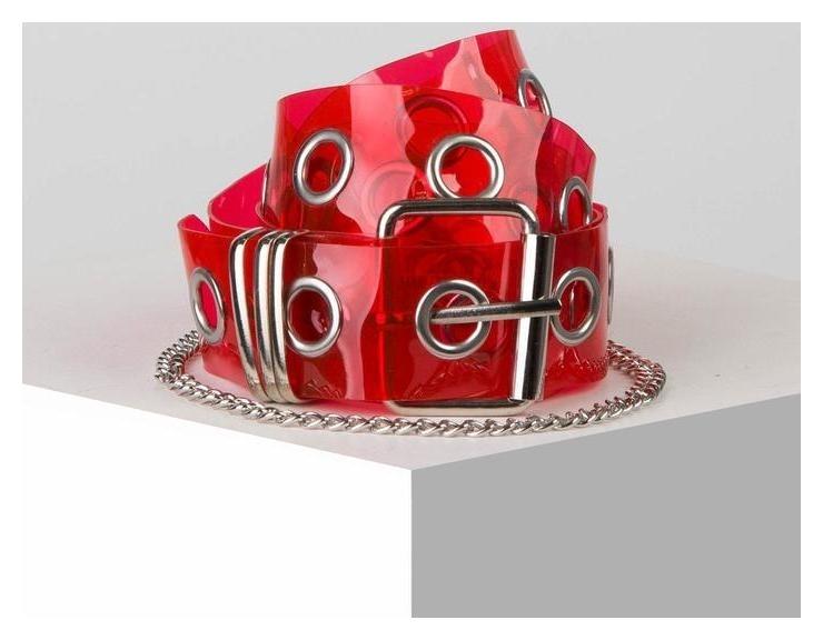 Ремень женский, ширина 4 см, силикон, пряжка металл, цвет красный NNB