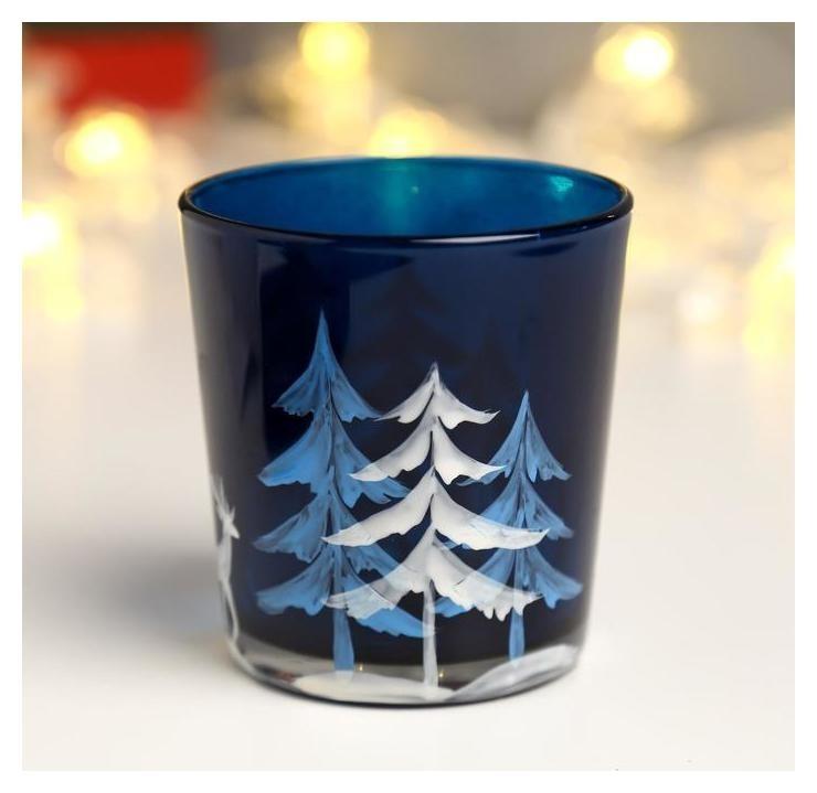 Подсвечник Зимний лес синий 8 см NNB