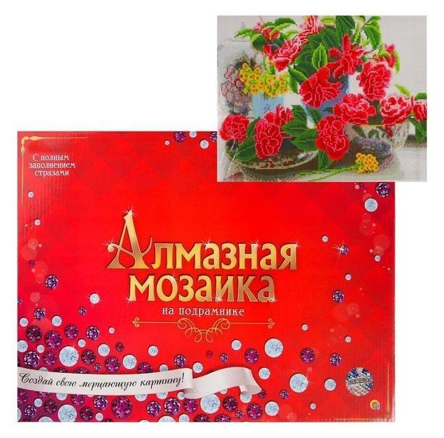 Алмазная мозаика 40х50 см, с подрамником, с полным заполнением, 28 цветов «Яркий букет на столе» Рыжий кот