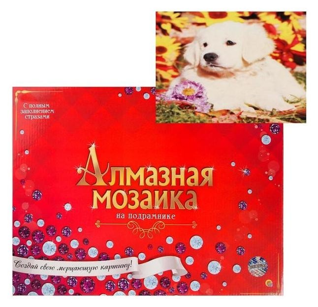Алмазная мозаика блестящая 30х40 см C подрамником, с полным заполнением, 28 цветов «Щеночек лабрадора» Рыжий кот