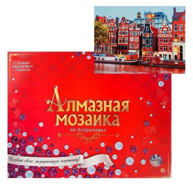 Алмазная мозаика 30х40см, C подрамником, с полным заполнением, 34 цвета «Вечерний амстердам» Рыжий кот