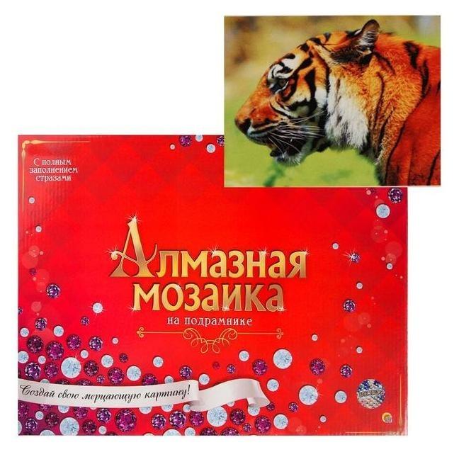 Алмазная мозаика 30х40 см, C подрамником, с полным заполнением, 27 цветов «Благородный тигр» Рыжий кот