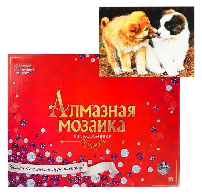 Алмазная мозаика 30х40см, C подрамником, с полным заполнением, 35 цветов «Дружелюбные щенята»  Рыжий кот