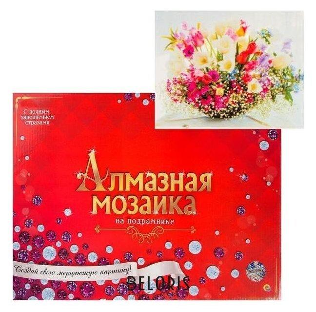 Алмазная мозаика 30х40 см, с подрамником, с полным заполнением «Пышный нежный букет» Рыжий кот (Red cat toys)