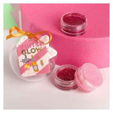 Набор волшебных блёсток для ногтей Winter Glow, 3 цвета  Beauty fox