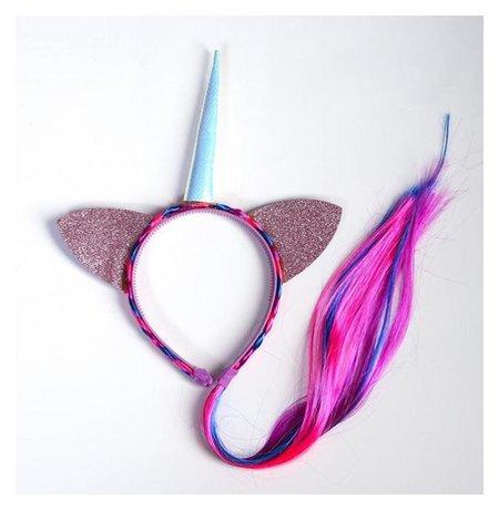 Карнавальный ободок Единорог с косичкой, цвет розовый Страна Карнавалия