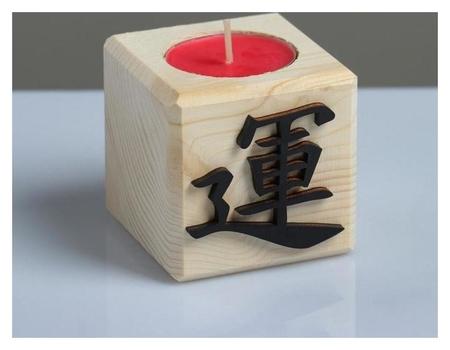 Свеча в деревянном подсвечнике с ароматом вишни Куб Иероглифы Здоровье