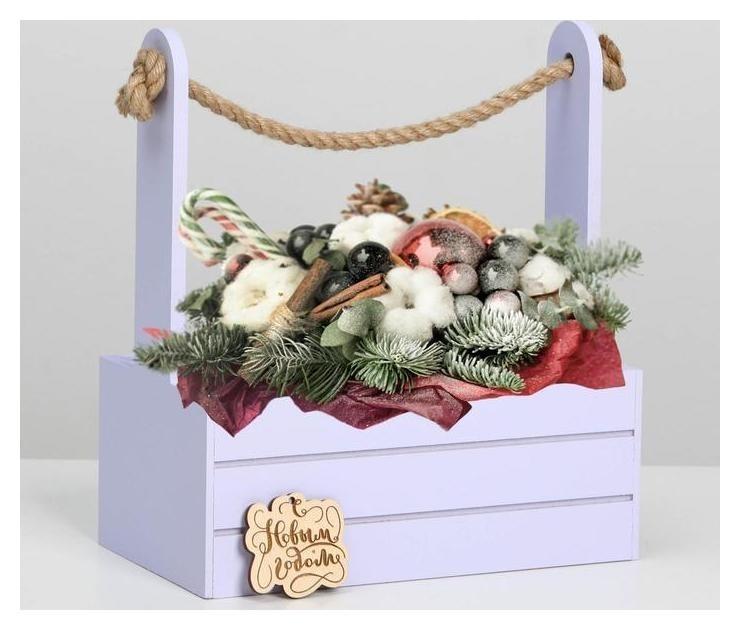 Ящик для декора МДФ 25х15х30 см С новым годом лаванда Дарите счастье