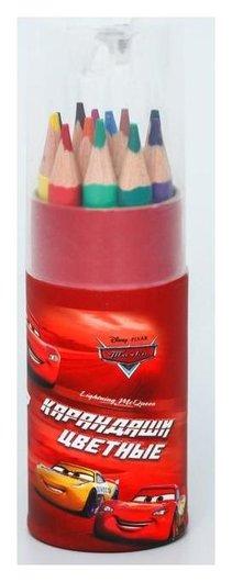 "Карандаши цветные с точилкой в тубусе мини, 12 цветов, ""Тачки"", тачки  Disney"