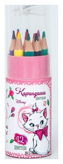 Карандаши цветные с точилкой в тубусе мини, 12 цветов, Мари, коты аристократы Disney