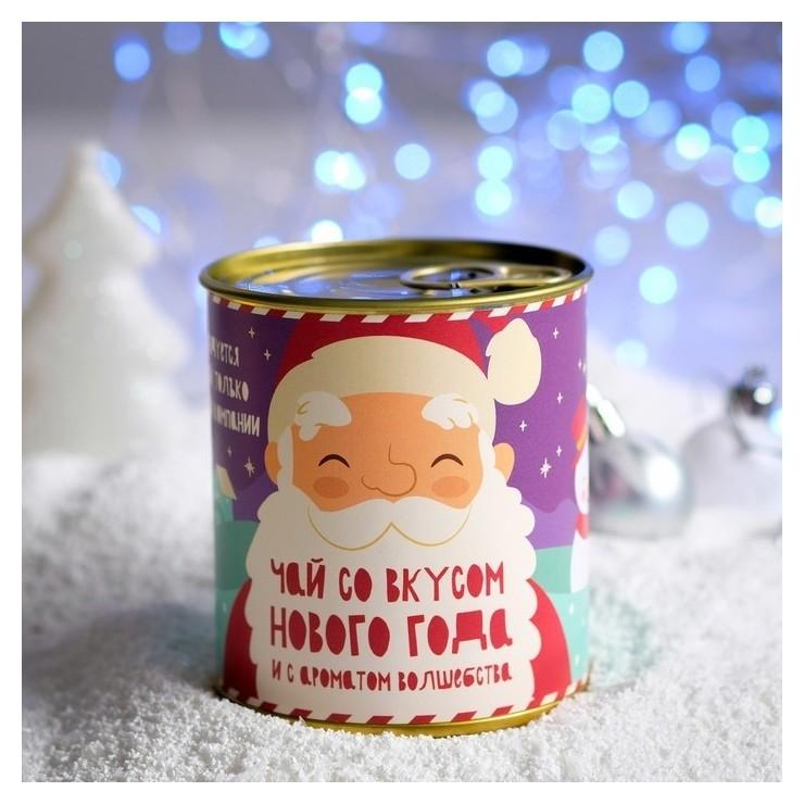 Чай в консервной банке Чай со вкусом нового года-2. Дед мороз и снеговик 50 г НетНеСлипнется!