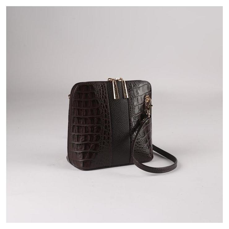 Сумка жен L80.1b, 16*8*16, отд на молнии, н/карман, регул ремень, кайман коричневый L-Craft