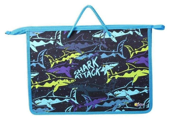 Папка с ручками пластиковая А4, 340 х 245 х 15 мм «Цветные акулы» (Ручки-шнурок)  Оникс