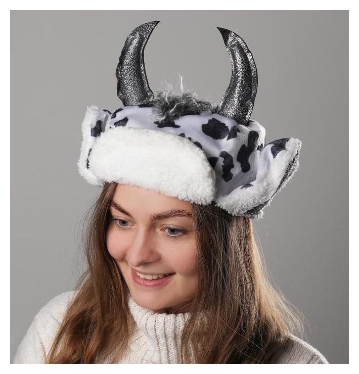 Карнавальная шапочка ушанка коровка блестящие рога NNB