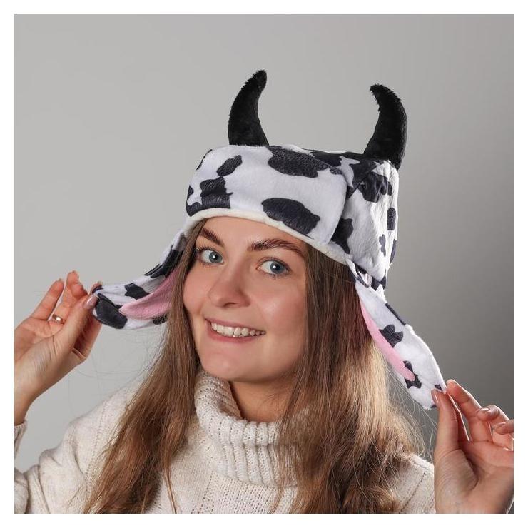 Карнавальная шапочка ушанка коровка NNB