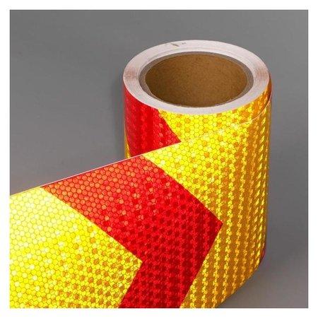 Светоотражающая лента, самоклеящаяся, красно-желтая, 15 см х 10 м  NNB