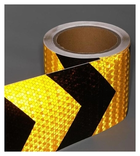 Светоотражающая лента, самоклеящаяся, черно-желтая, 10 см х 10 м  NNB