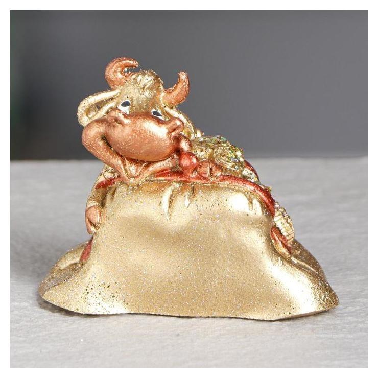 """Статуэтка """"Бык в кошельке"""", золотистый, 6 см  Керамика ручной работы"""