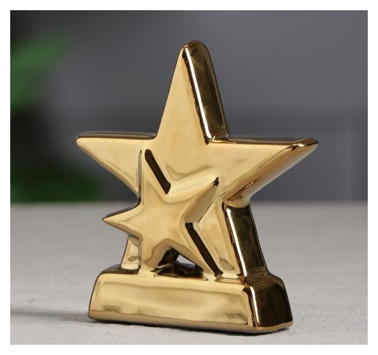Кубок Полярная звезда золотистый, 10 см Керамика ручной работы