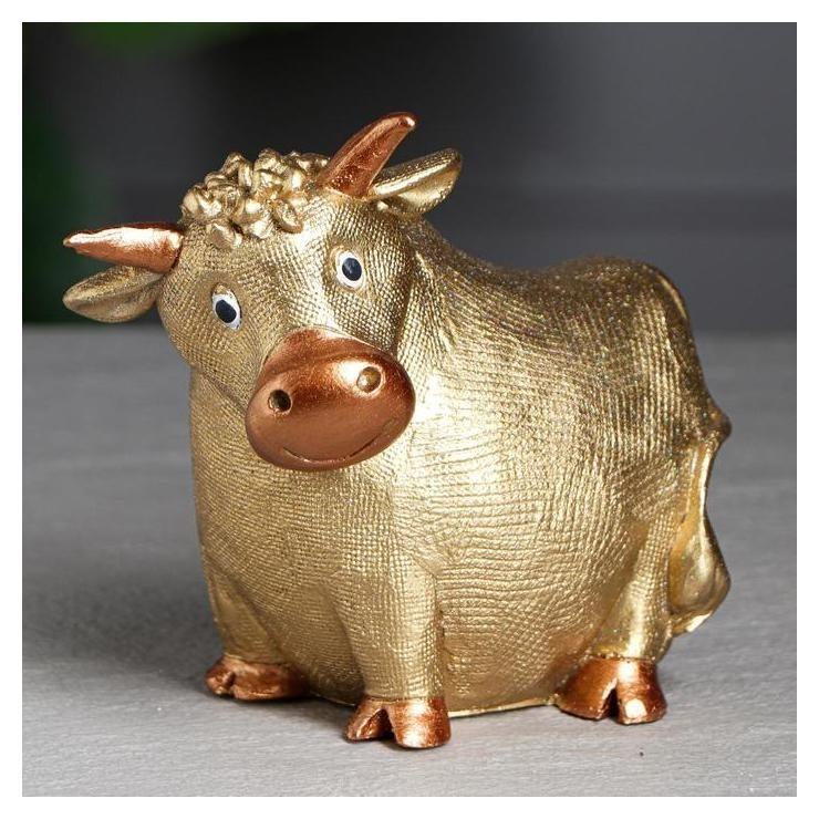 Копилка Корова, золотистый, 18 см Керамика ручной работы