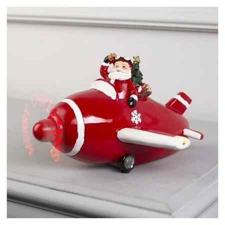 """Фигура световая """"Новогодний самолет с дедом морозом"""", 11 Led, крутящийся пропеллер, ааа*3  LuazON"""