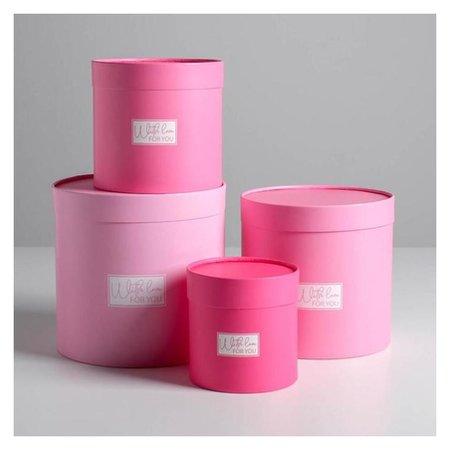 Набор шляпных коробок 4 в 1 «Розовый», 12 х 12 - 20 х 20 см  Дарите счастье