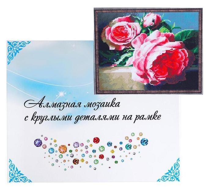 Алмазная мозаика с подрамником, полное заполнение 40×50 см «Розы» NNB