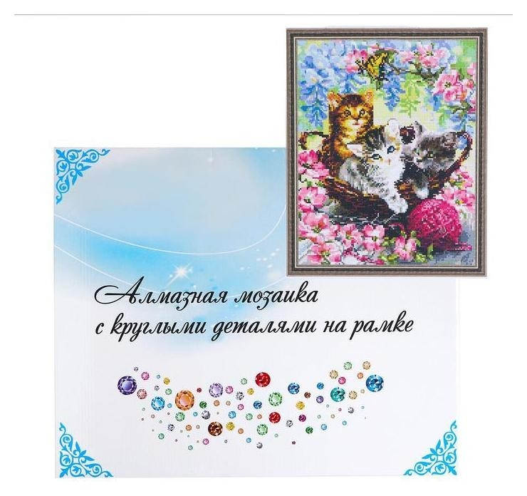 Алмазная мозаика с подрамником, полное заполнение 40×50 см «Котята» NNB
