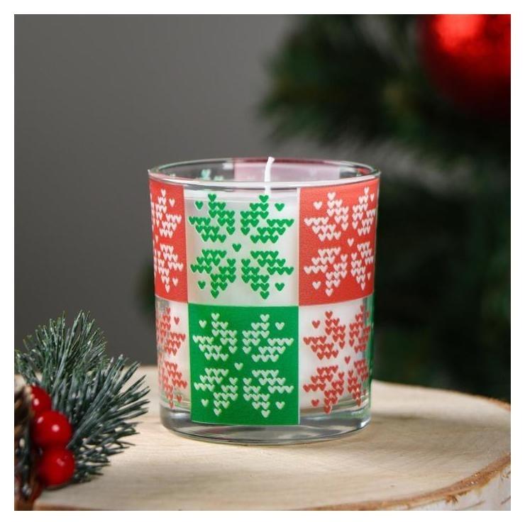 Свеча в стекле новогодняя Скандинавские узоры Снежинки 7.8×7 см Омский свечной завод