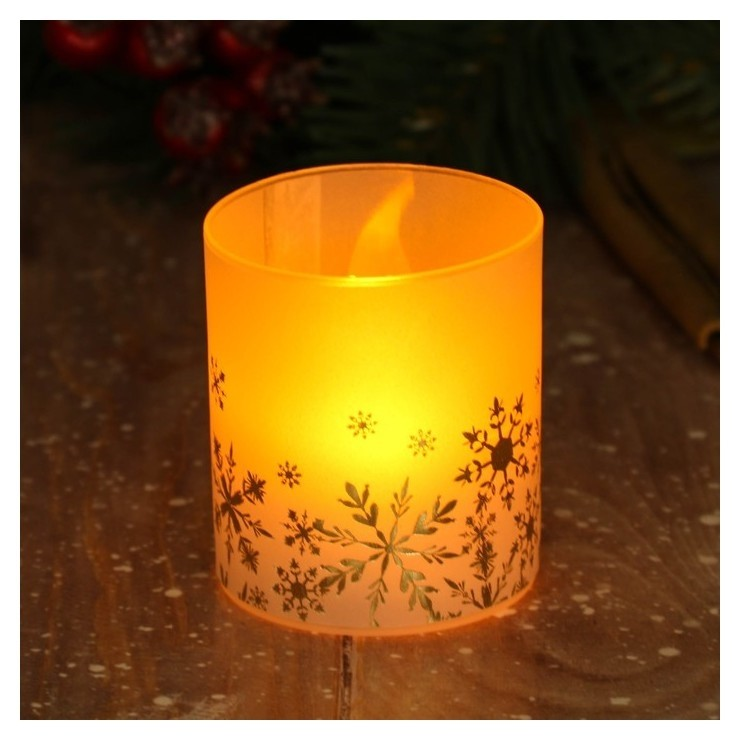 Электронная свеча Снежинки 5 х 5,7 см  Зимнее волшебство