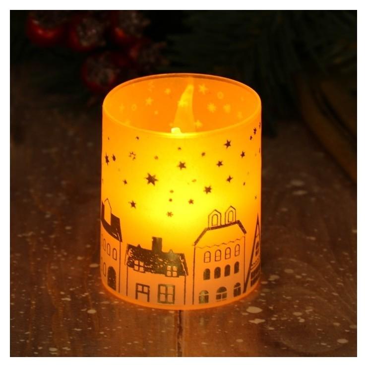 Электронная свеча Домики 5 х 5,7 см  Зимнее волшебство