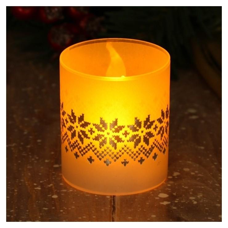 Электронная свеча Вязка 5 х 5,7 см  Зимнее волшебство
