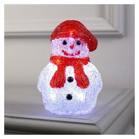 "Фигура акрил.""Снеговичок в шарфе"" 15х7х7 см, 2хаа (Не в компл), 8 Led, белый  LuazON"