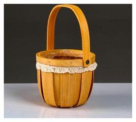 Корзина плетеная, секвойя, D13хн11/22,5 см, натуральный с окантовкой