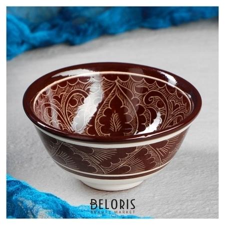 Пиала большая риштанская керамика, 0.15 л, 11.5см, коричневая Риштанская керамика