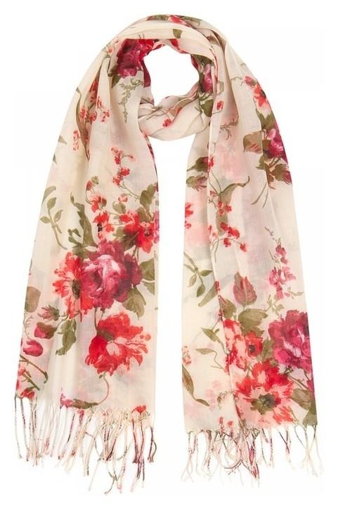 Палантин женский текстильный, цвет молочный/красный, размер 63х180  Rossini