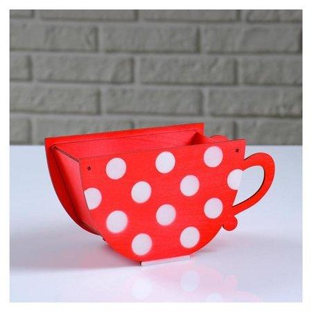 Кашпо деревянное Чашка в горошек, красный, 20×9×11 см NNB