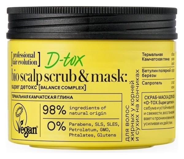 Скраб-маска для кожи головы перед мытьем головы D-TOX. Super детокс Natura Siberica Hair Evolution