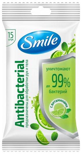 Салфетки влажные салфетки Лайм-мята с витаминами Antibacterial  Smile