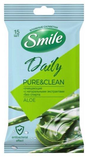 Салфетки влажные очищающие Aloe  Smile