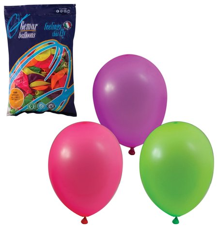 """Шары воздушные 10"""" (25 см), комплект 100 шт., 12 неоновых цветов, в пакете, 1101-0002  Веселая затея"""