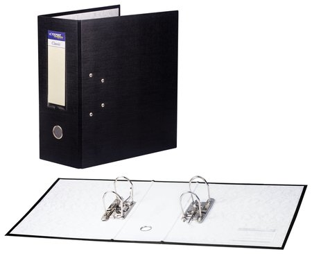 Папка-регистратор с двумя арочными механизмами (До 800 листов), покрытие пвх, 125 мм, черная  NNB