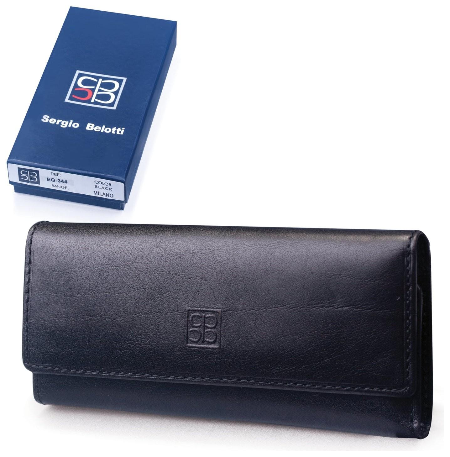 Футляр для ключей Sergio Belotti, натуральная кожа, застежка - 2 магнитные кнопки, 57х130х20 мм, черный, 344 Sergio Belotti