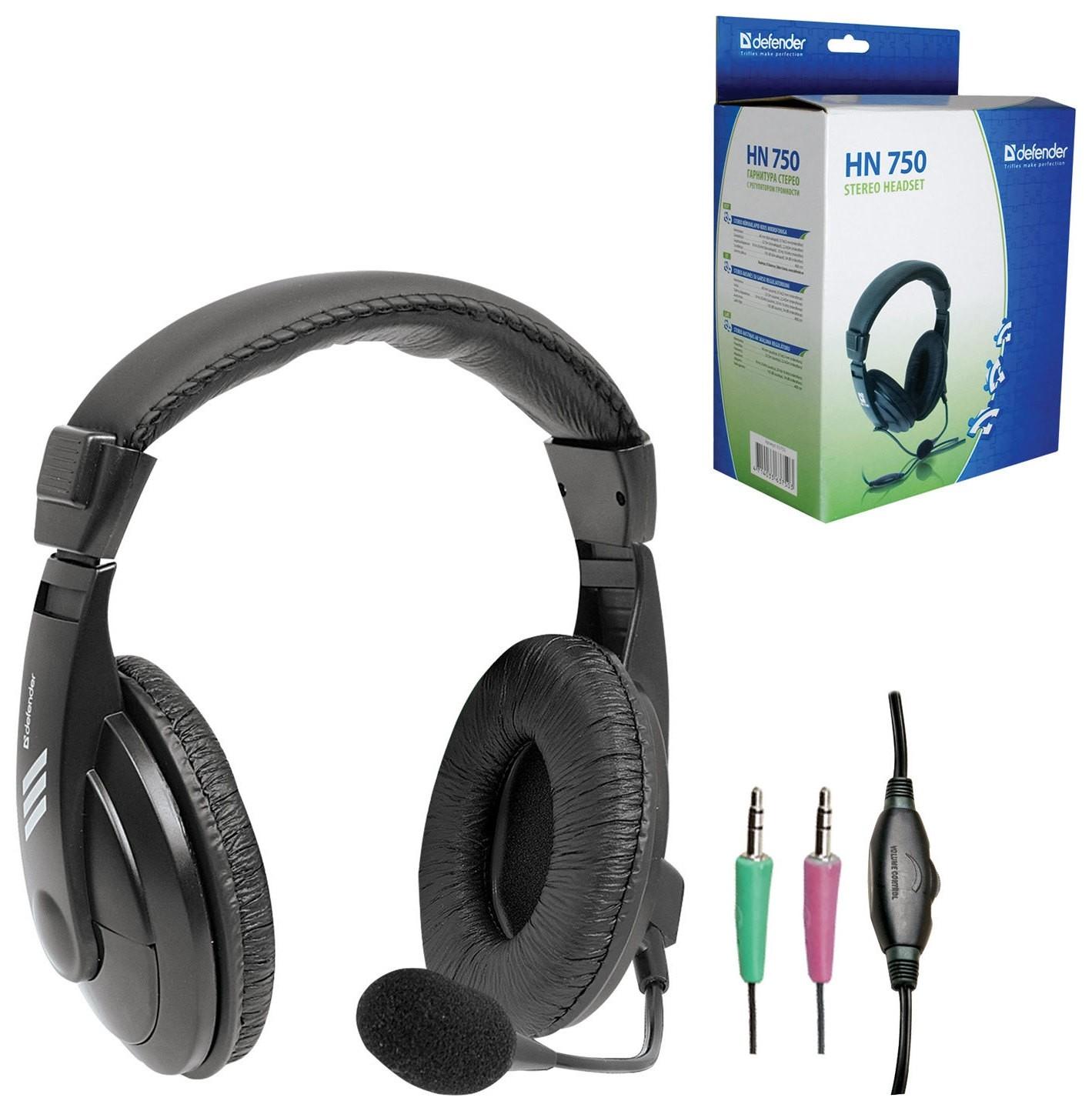 Наушники с микрофоном (Гарнитура) Defender Hn-750, проводная, 2 м, стерео с оголовьем, регулятор громкости, 63750  Defender